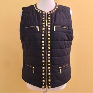 Michael Kors Navy/Gold Quilted Puffer Vest - Large